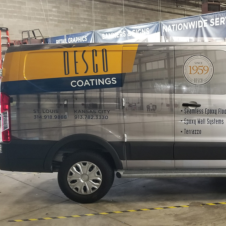 Desco Coatings Custom Vehicle Wrap on Van