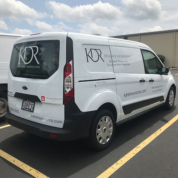 KDR Designer Showroom custom vehicle wrap on van